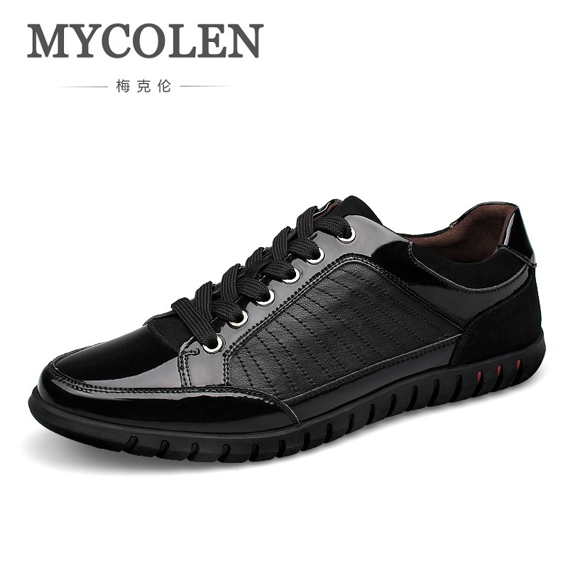 MYCOLEN Spring/Autumn Men's Leather Casual Shoes Classic Fashion Comfortable Male Elastic Band Flats Men Zapatillas Hombre 2017 male tenis flats lace up men casual shoes mens trainers flat goose shoes comfortable sport zapatillas hombre basket femme