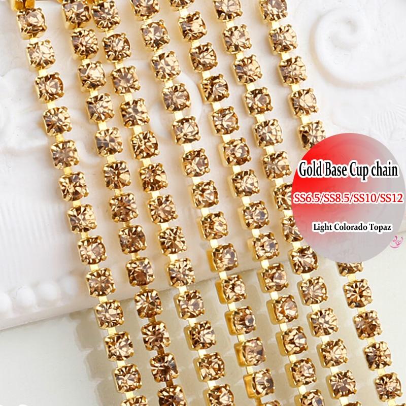 Золото База горный хрусталь цепи обрезки SS12 Light Colorado Topaz 10 ярдов DIY Вышивание на Стразы Сеть DIY украшения