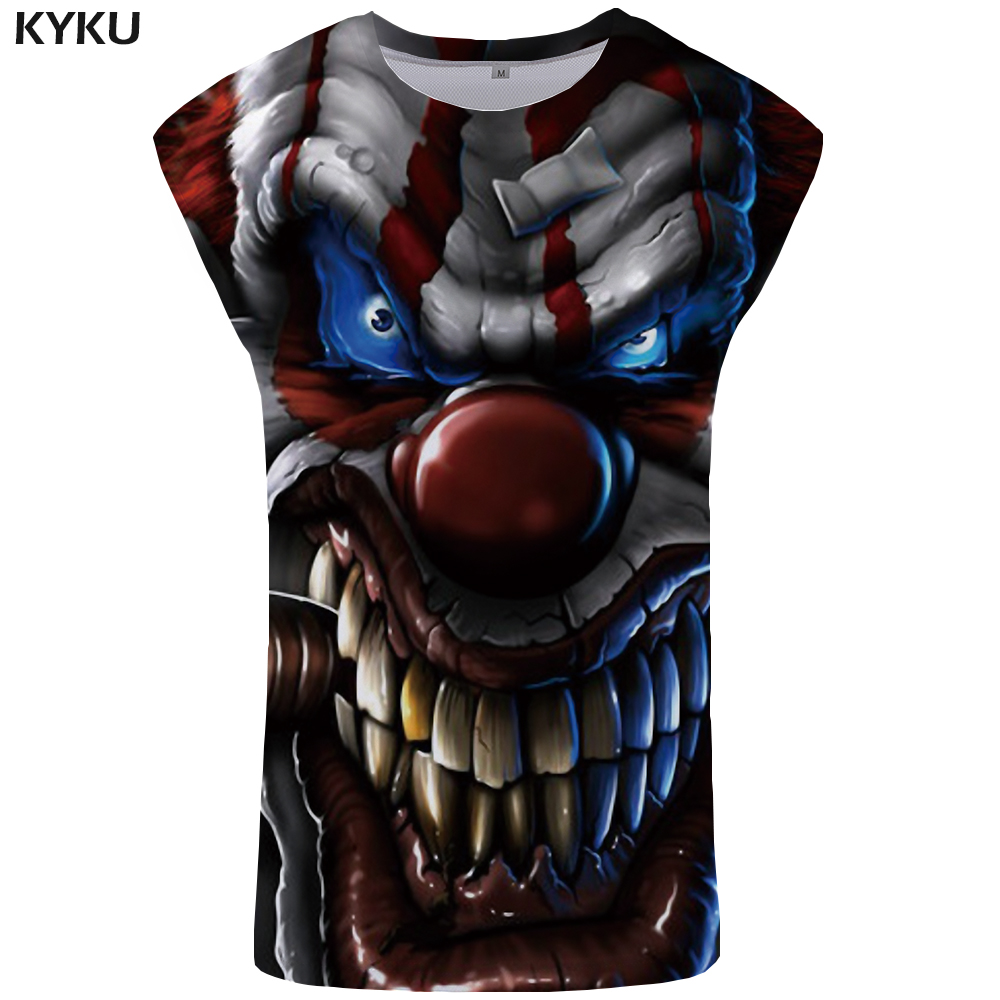 KYKU Clown   Tank     Top   Men Smoke Undershirt Smiley Face Mens Bodybuilding Blue Ftness Clothing Devil Singlet Vest Sleeveless Shirt