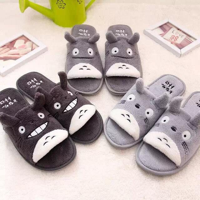 Totoro Cartoon Floor Coral Velvet Slippers