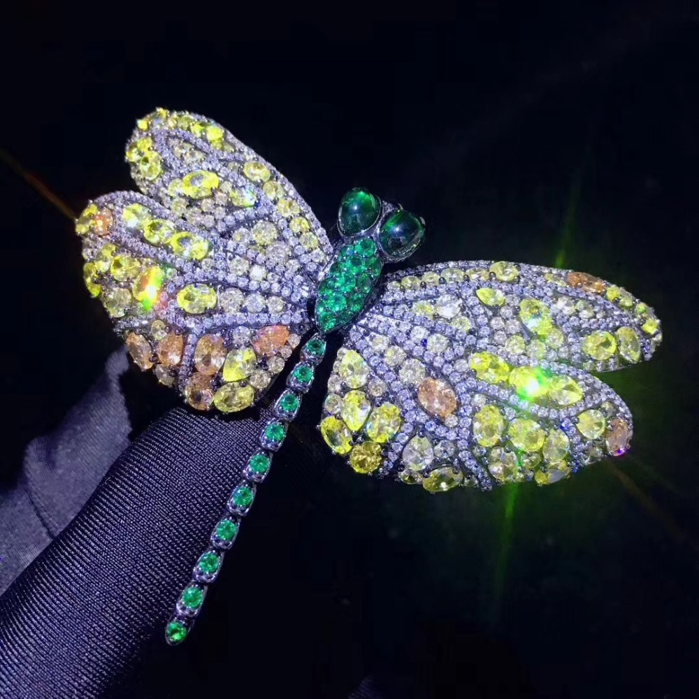 Unisexe 925 sterling argent avec cubique zircon libellule broche broches multi couleur mode bijoux pour femmes et hommes vintage insecte