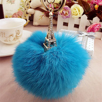 Rhinestone Multicolour Keychain Rabbit Fur Ball Bag Lanyards Car Clasp Pelucias Chaveiro Bags Fashion Metal