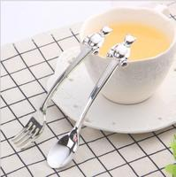 6pcs/set Europe mini Bear cake fork stainless steel fruits dessert forks and dinner fork for home/wedding table decorative CC015