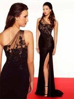 Роскошный Пользовательские Горячая Распродажа Новый стиль вечерние 2018 одно плечо отлично черный платье на выпускной нарядные платья