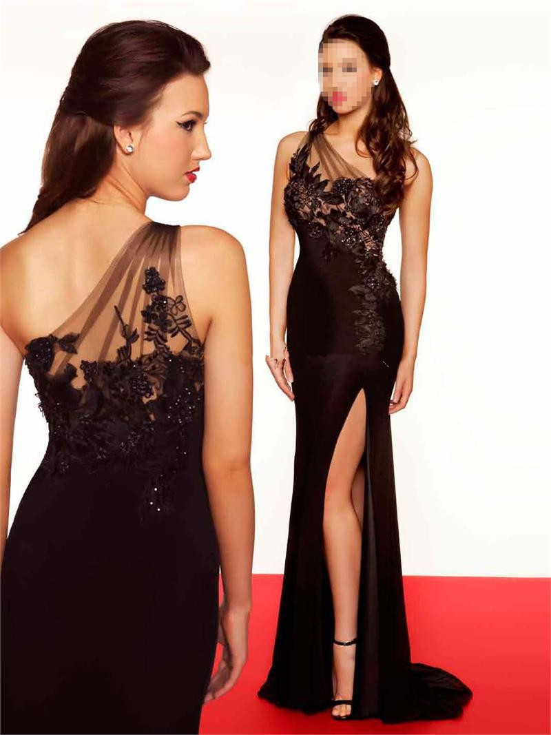 Luxurious custom Hot sale New style party 2018 One Shoulder Excellent Black prom gown bridesmaid dresses