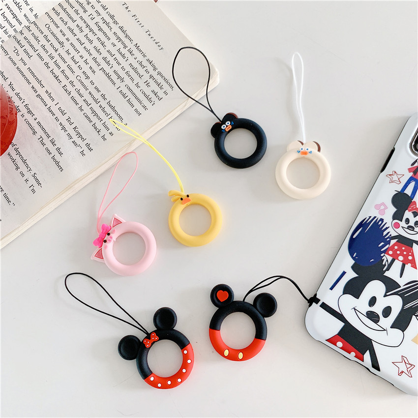 Cartoon Finger Ring Pendant Anti fall Cute Universal Mobile Phone Lanyard Short Rope Ring Strap DIY Accessories for Airpods Case in Mobile Phone Straps from Cellphones Telecommunications