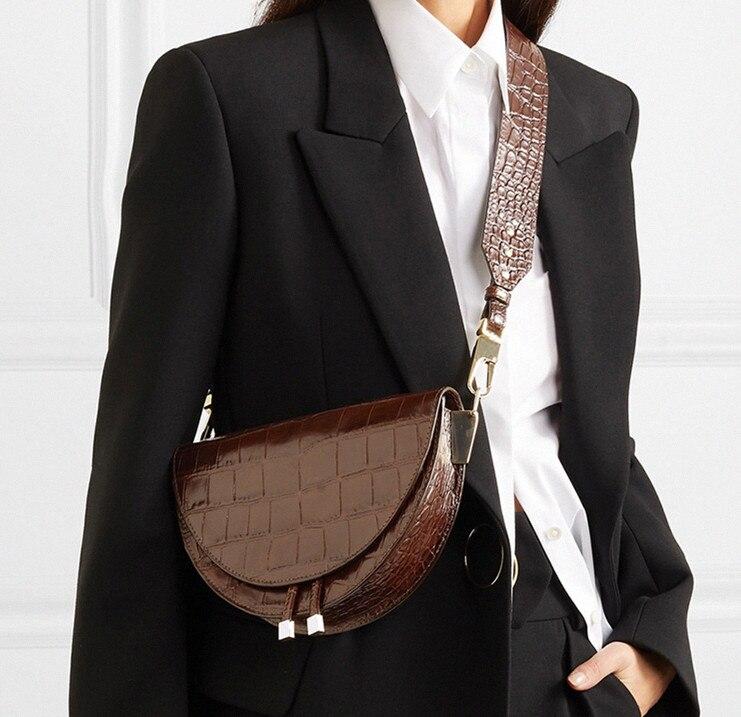 NIGEDU Semicírculo Sela Sacos Crossbody Bag Moda Crocodile PU de Couro Das Mulheres designer Bolsas bolsas de Ombro para as mulheres