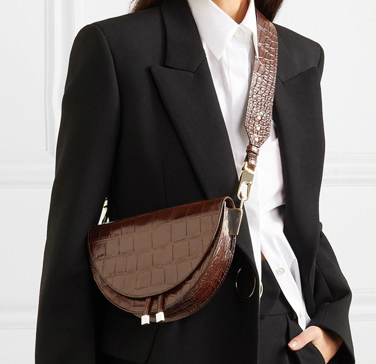 Nigedu mulheres crossbody saco moda crocodilo semicircular sela sacos de ombro couro do plutônio para bolsas femininas designer bolsas