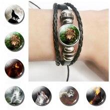 Многослойный Плетеный браслет с изображением волка из серии