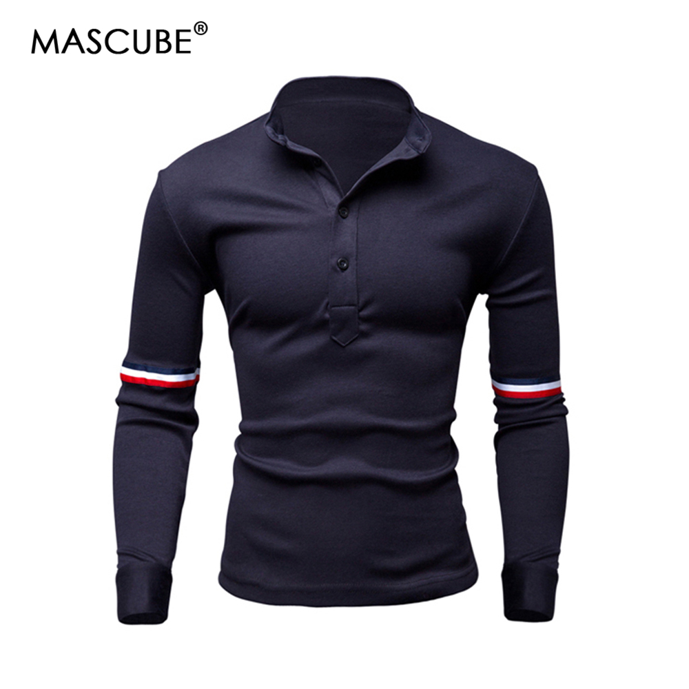 MASCUBE Brand Men   Polo   Hombre Shirt Mens Fashion Collar Shirts Long Sleeve Stitching Casual Sweatshirt Camisetas Masculinas