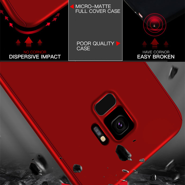 360 Full Protection Case For Samsung Galaxy Note 5 8 9 S6 S7 Edge S8 S9 S10 Plus A6 A7 A8 A9 2018 A70 Tempered Glass Cover Shell