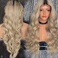 Sin cola rubia del pelo humano peluca llena del cordón y del frente del cordón peluca de color ombre ondulado 150% densidad virgen peluca de cabello humano
