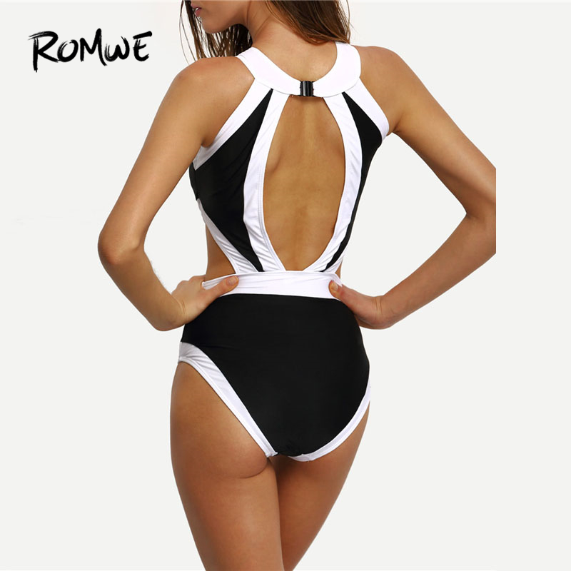 f1c3e110ed Romwe Sport High Neck Cutout One Piece Swimwear Women Push Up Patchwork  Monokinis 2018 Summer Beach Sexy Colorblock One Piece-in Body Suits from  Sports ...