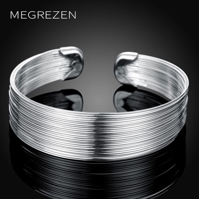 Fashion Bangle Bracelets Womens Adjule Silver Bangles For Women Wide Bracelet Pulseira Feminina Cb023