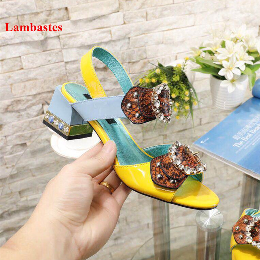 2019 Hot Summer Women Sandals Yellow Belt Buckle Designer Crystal Peep Toe Women Sandals High Heel Gladiator Casual Shoes Women