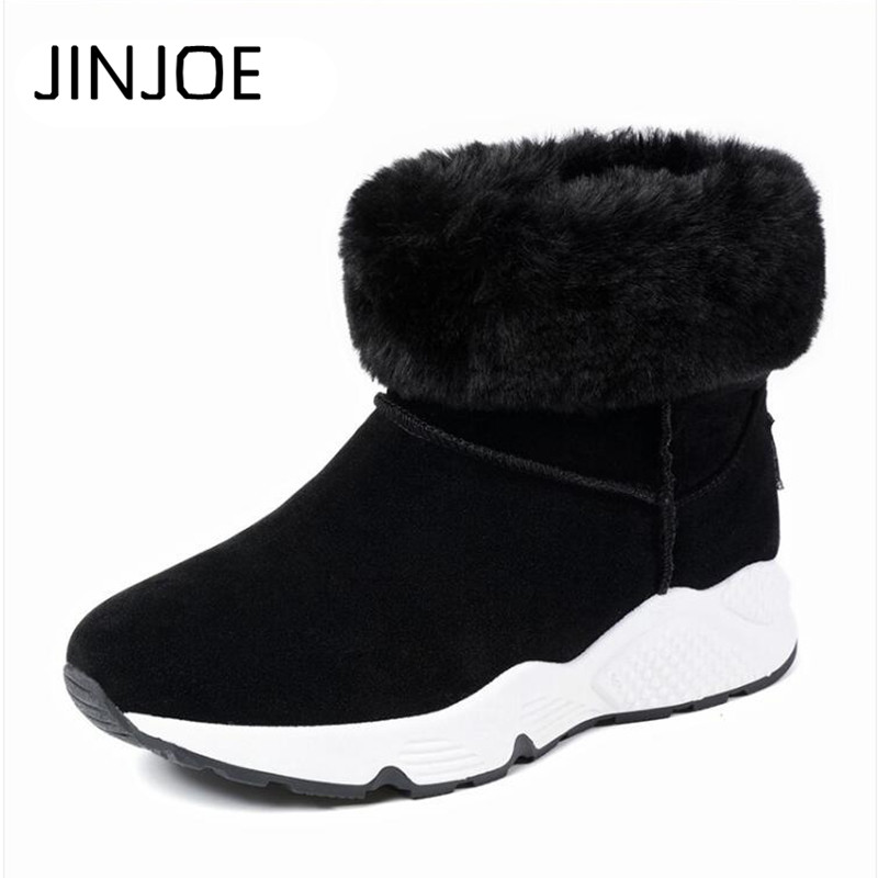 JINJOE 2017 new short canister boots female winter muffin thick bottom cotton boots wool shoes shoes Woman Snow boots Keep warm