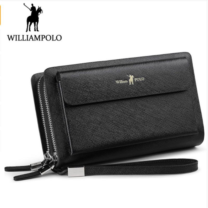 the latest 04620 ac20a US $47.23 35% OFF WILLIAMPOLO 2018 Leather Fashion Clutch Bag iPhone 8  Holder Portemonnee Men Wallet 21 Card Holder Wallet -in Wallets from  Luggage & ...