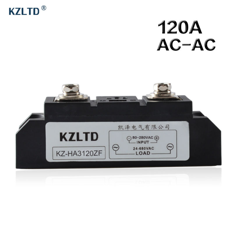 KZLTD SSR-120A AC-AC Solid State Relay 120A Input 80-280V AC to Output 24-680V AC Relay Solid State Industrial SSR 120A Relais original 3 phase ac solid state relay ssr 15a 80 250vac normally open electronic switch