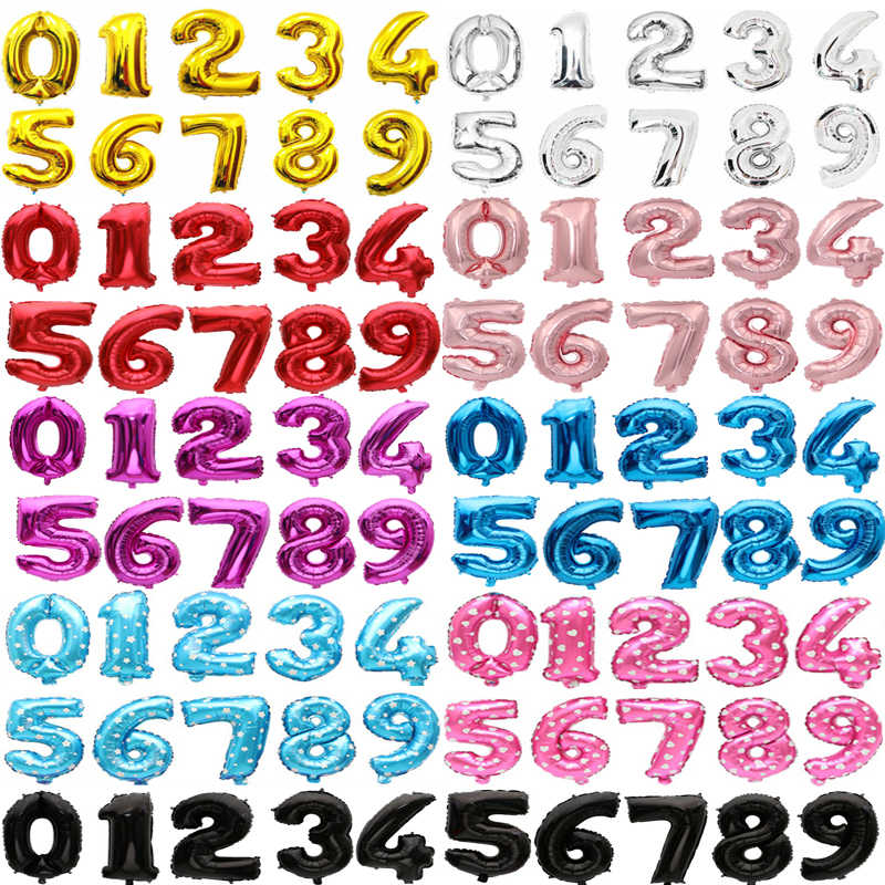 16inch Number Foil Balloon Birthday Party Balloons Blue Red Gold Silver Number Fiol Balloon Baby Shower Party Wedding Decoration