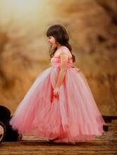 Высокого класса Ручной учетом Платье Детей Платье Модератор Фортепиано Выступления Принцесса Платье Коралл Марли Задней Платье