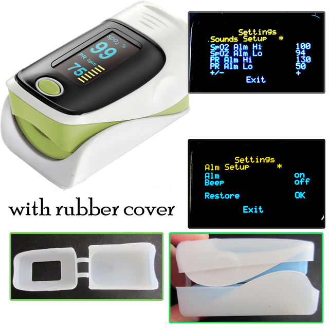 one unit CE ISO with rubber cover Finger pulse oximeter SPO2 PR monitor waveform 6 Display Modes Ossimetro oxymetre