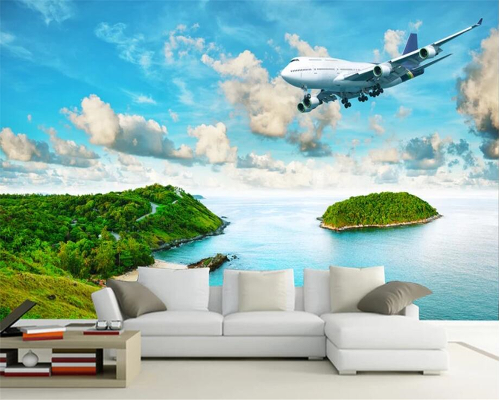Beibehang Modern Home Background Wall 3d Wallpaper Seaside Island Tropical Rainforest Airplane Photo Mural Wallpaper tapety