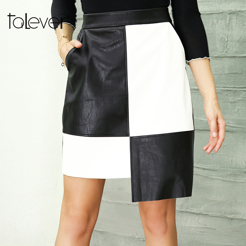 Girls Black Leather-based Skirt Feminine Informal Patchwork Excessive Waist Midi Pu Pencil Skirts With Pockets Woman Bodycon Celebration Skirt Talever
