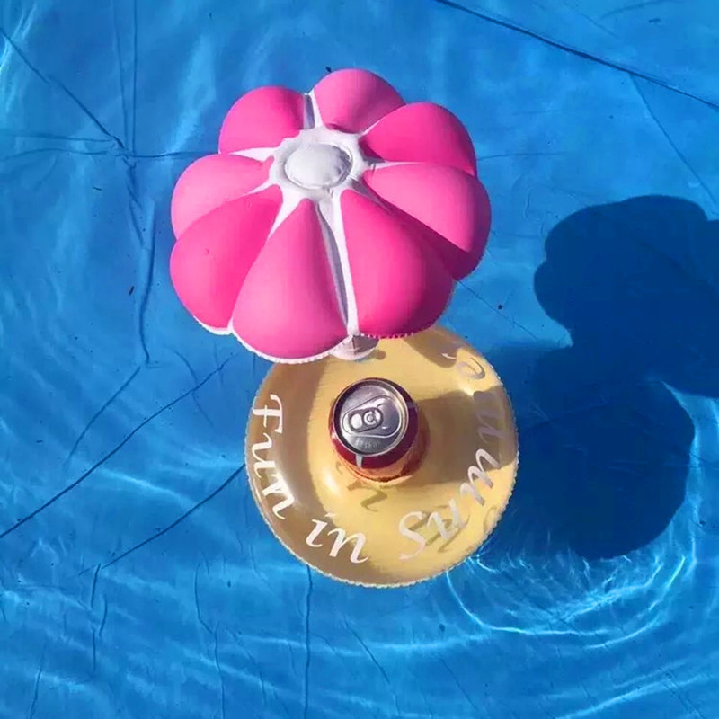 Inflatable Umbrella Drink Cup Holder Inflatable Floating Water Toys for Party Swimming Pool Accessories Beach Water Toy Tools
