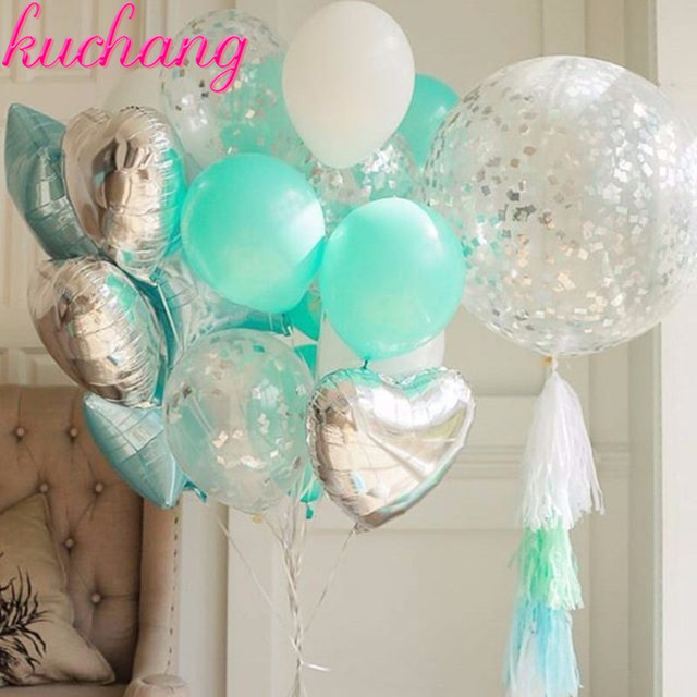 New Combination Set Balloon Tiffany Blue Silver Series Suit Pink