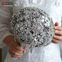 Sparkly Beaded Crystal Diamond Wedding Bouquet 2018 New Luxury Bride Handle Bridal Bouquets