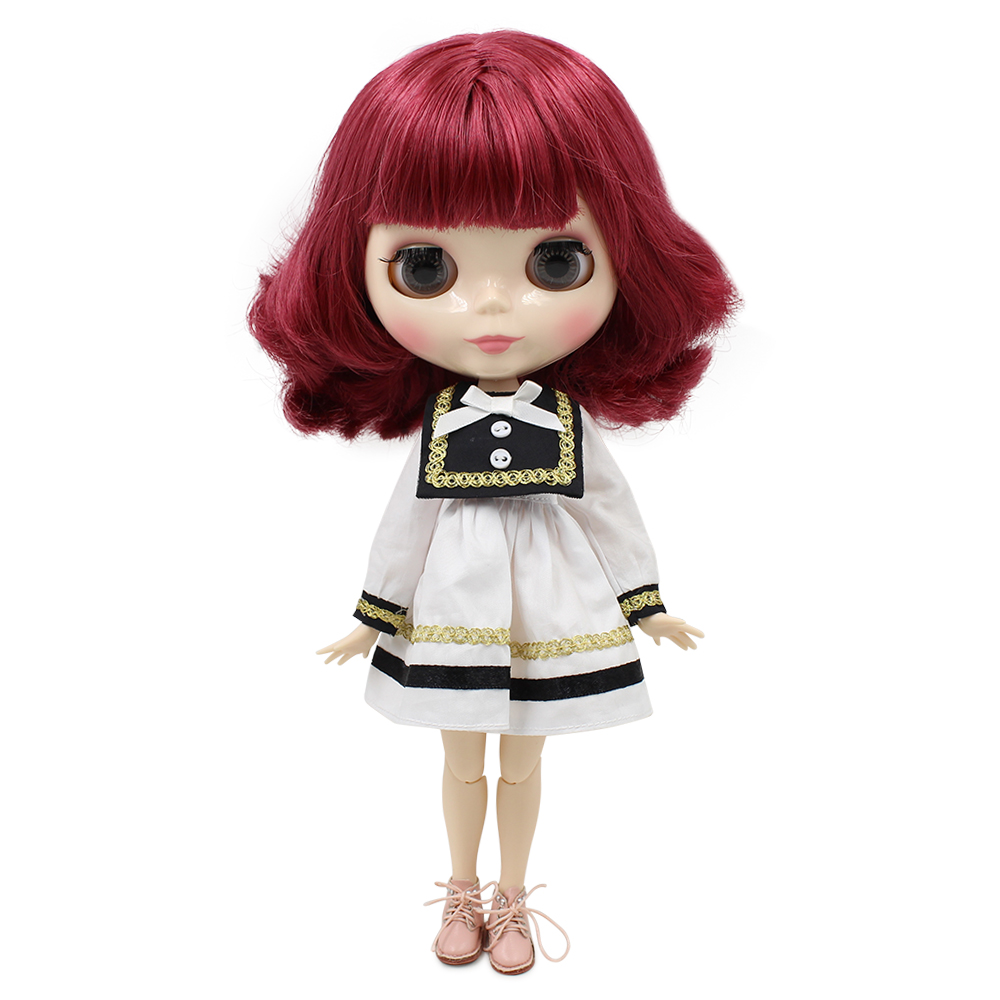 1/6 Blyth Nude doll joint body pink soft hair no bangs