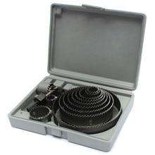 Оптовая продажа универсальный 19-127 мм 16 pcsaw Резка набор инструментов укрепляющей пластины шестигранных ключей с коробки для хранения дерево mttal сплавов отверстие
