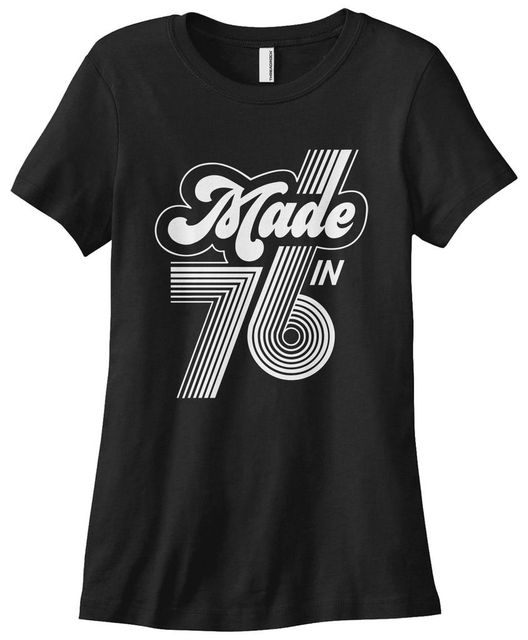 Womens Made In 1976 T Shirt 40th Birthday Gift 76 2017 Summer Hiphop Harajuku Brand Print Cotton Sale Woman Shirts