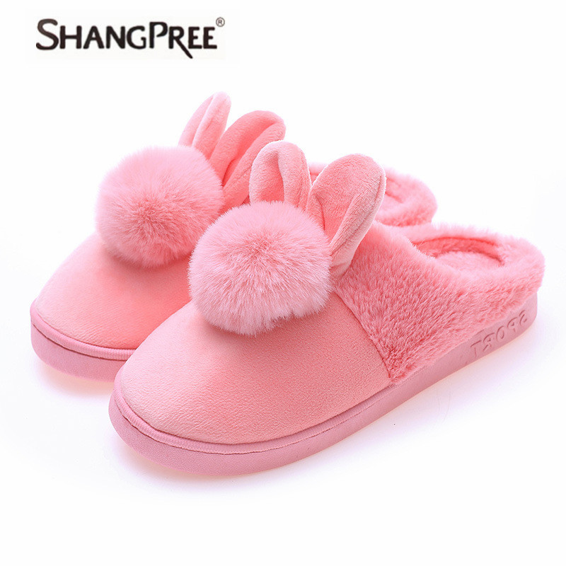 Fashion Woman New Cozy Lovely Rabbit ears Soft Home Slippers Cotton Warm Winter women slippers Casual indoor slippers 4 colors