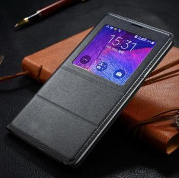 FGHGF Note4 chip smart Case free answer Cover For Samsung Galaxy Note4 N9100 N9108 Leather Flip Cases Luxury Auto Window View