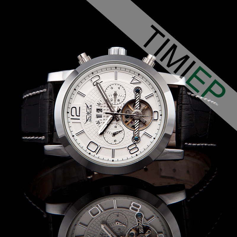 ФОТО new White Automatic Mechanical Calendar Mens Watch 5 Hands Wristwatches