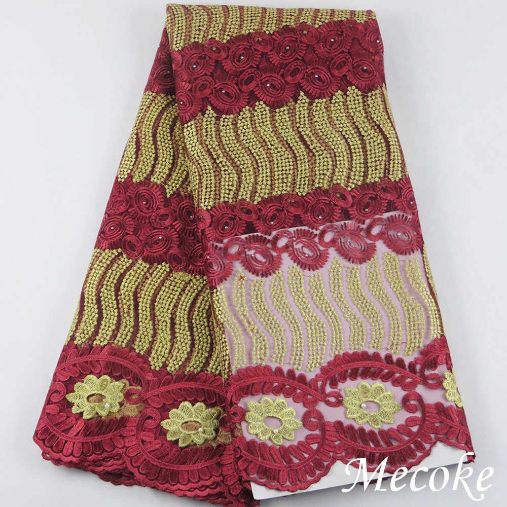 Di vendita caldo di Tulle africano tessuto del merletto di alta qualità migliore del cotone africano tessuto di pizzo per il verde Del Ricamo Svizzero del voile tessuto del merletto