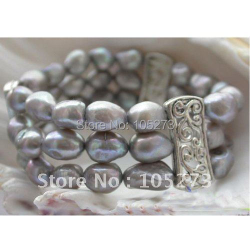 Stretch 3row Aa8 12mm Gray Baroque Shaper Genuine Freshwater Pearl Bracelet Fashion Jewelry Whole