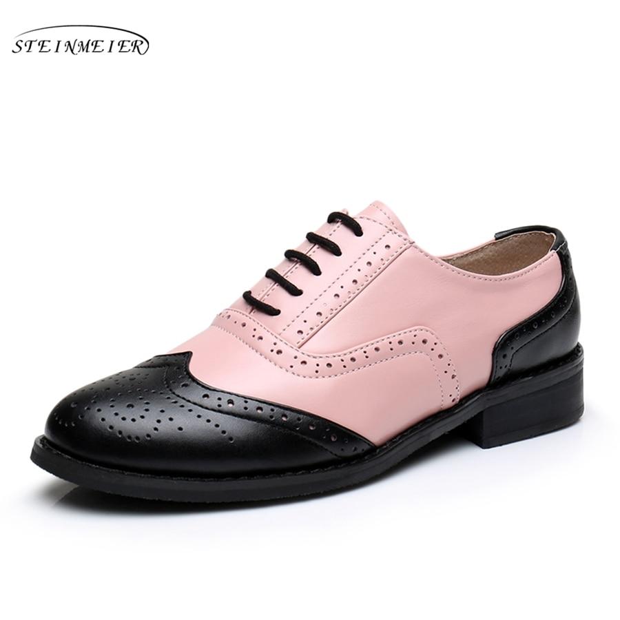 Mujer grande de cuero genuino ee.uu. tamaño 11 cosecha de zapatos planos  redonda dedo del pie Rosa marrón Oxford zapatos para mujeres con la piel 25a16418063