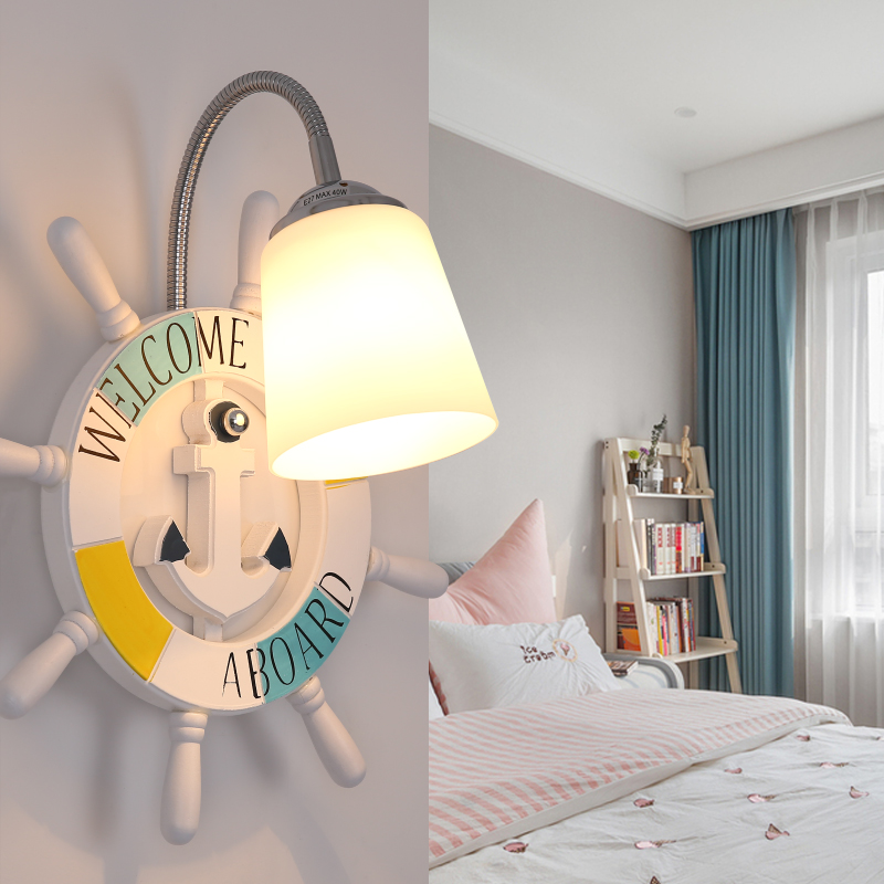 Современный мультфильм смолы корабль штурвала настенный светильник мальчик детская комната Творческий стекла огни девушка спальня ночники Арт Декор светодиодные лампы - 2