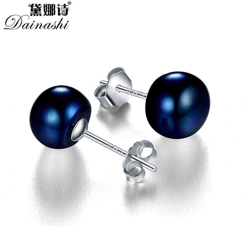 Dainashi Brand Classic Pink 100% Genuine Freshwater Pearl Earrings For Lady Party Gift, Rushed 925 Sterling Silver Earrings 2017