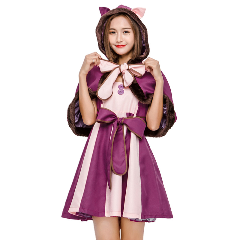 Alice's Adventures In Wonderland The Cheshire Cat Cosplay Costume with Hat Cosplay Theme Mascotte Carnival Costume Fancy Dress