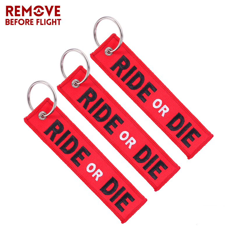 3 PCS/LOT Key Ring for Cars Fashion Keyring Key Chain for Motorcycle RIDE OR DIE Keychain Jewelry Embroidery Key Tag llavero