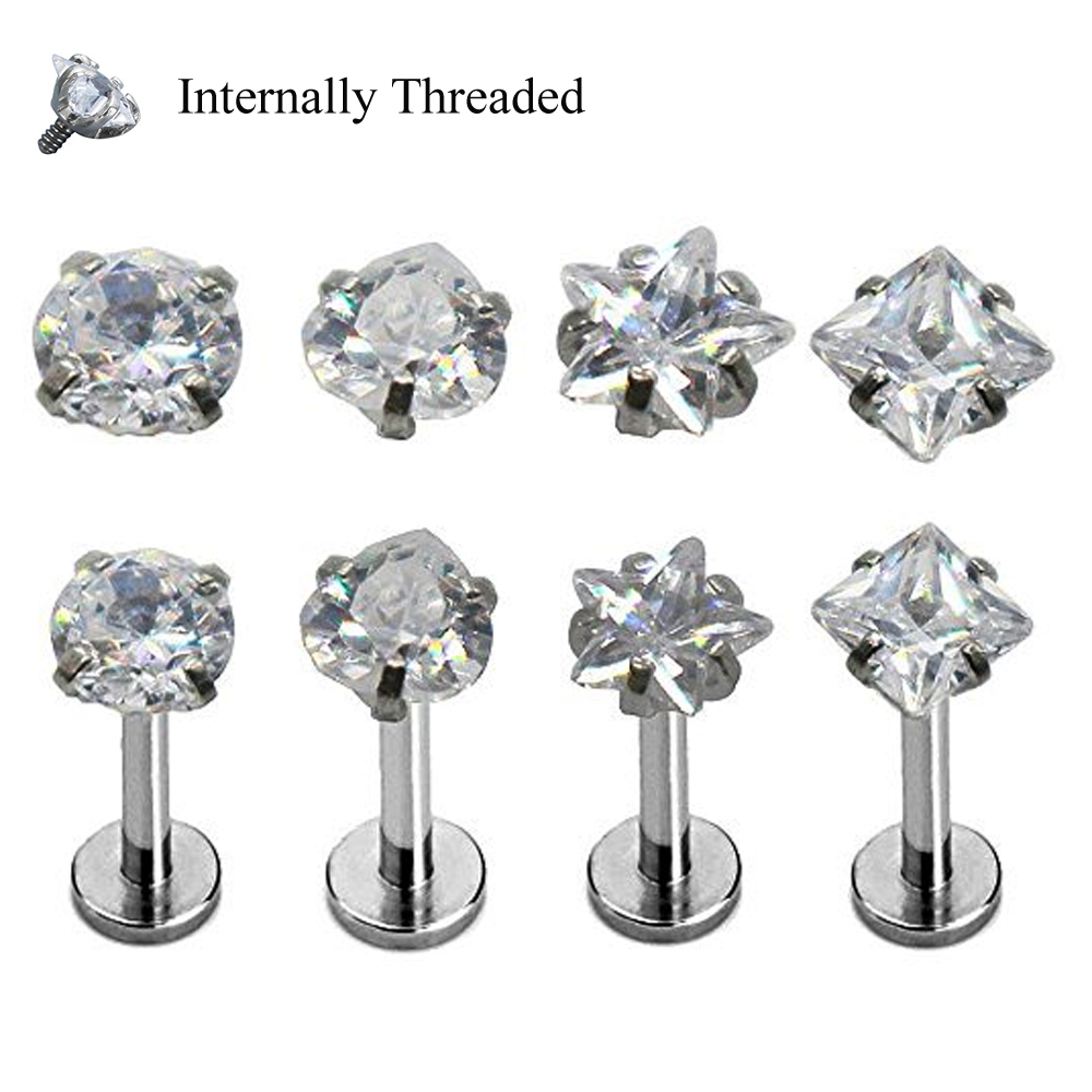 1pc Surgical Steel Prong Set Zircon Ear Helix Tragus
