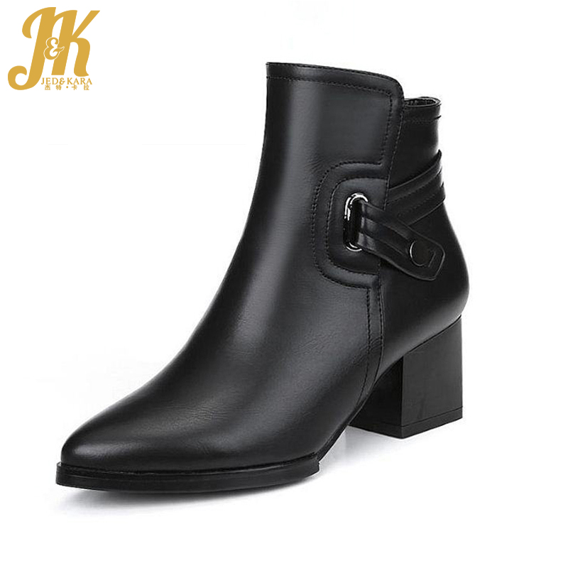 2018 Fashion Vintage Chunky Heels Ankle Boots Cool Female Buckle Charm Shoes Woman Add fur Autumn Winter Lady's Boots Woman new fashion boots autumn cool