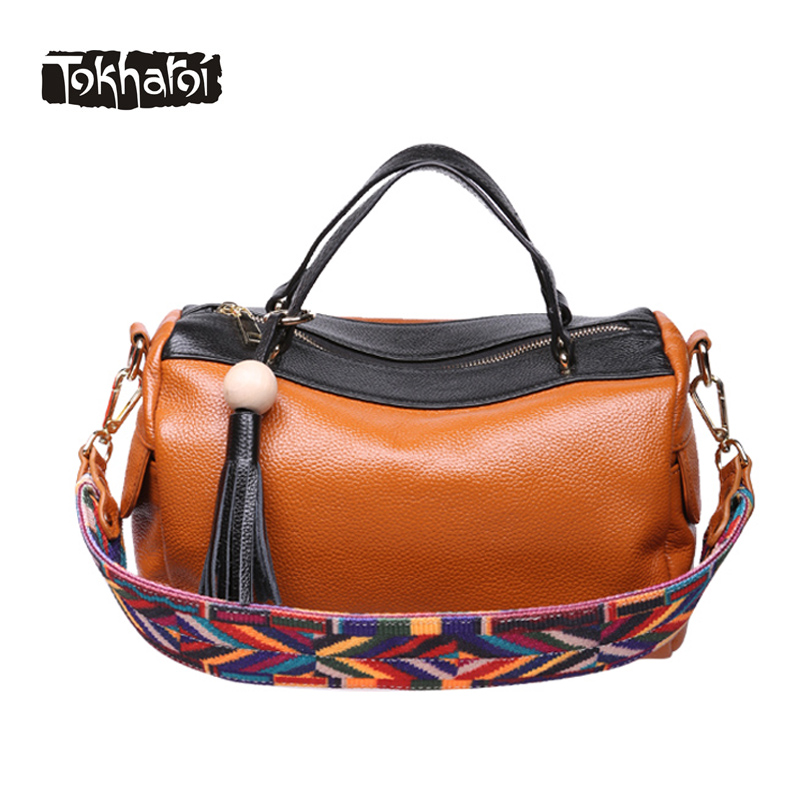 Tokharoi Brand Genuine Leather Shoulder Bag Luxury Handbags Lady Embroidery Strap Beading Tassel Crossbody Bags for Women 2017 2017 national embroidery bags women leather shoulder bag lady college crossbody bag colorful strap girls messenger bags school