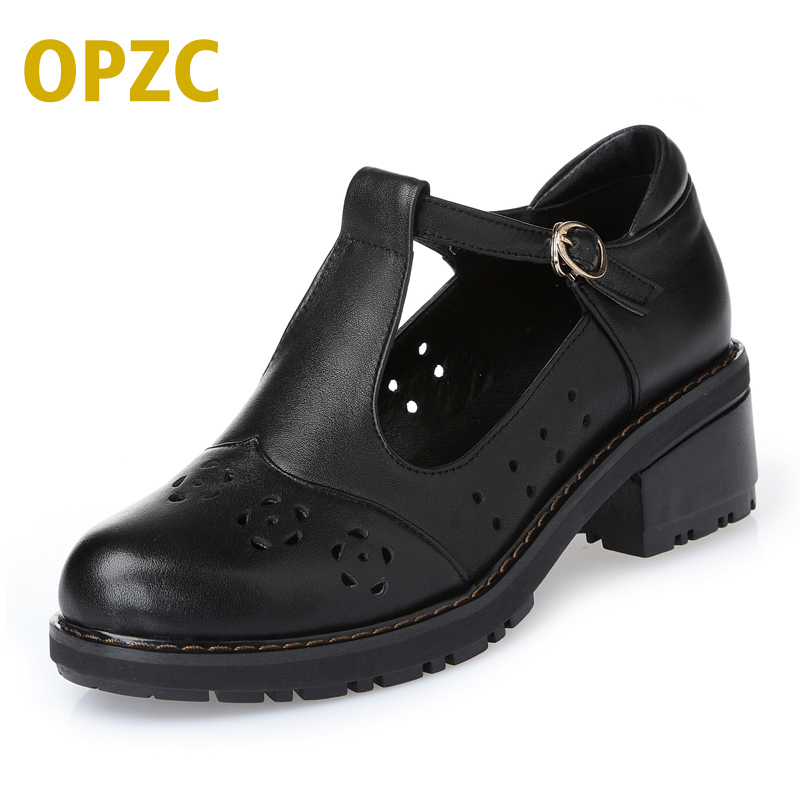 2018 spring and summer genuine leather shallow mouth single shoes female casual hollow hole women sandals free shipping 2017 spring and summer new women s shoes female pointed shallow mouth slope with high heel shoe side empty leather woman s shoes