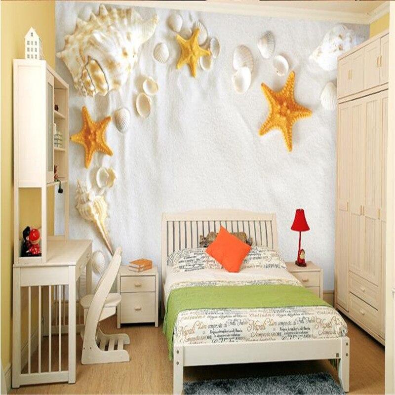 9eed2119ff2 Foto papel pintado no tejido papel 3D paisaje Concha playa sofá TV Fondo  mural de papel de pared para sala moderno
