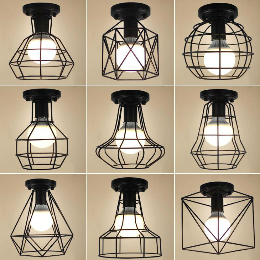 Luminaria Led Ceiling Lights retro Industrial Loft Chandelier ceiling iron E27 luster lamp Home Lighting Fixture Lamparas Abajur led lamp creative lights fabric lampshade painting chandelier iron vintage chandeliers american style indoor lighting fixture