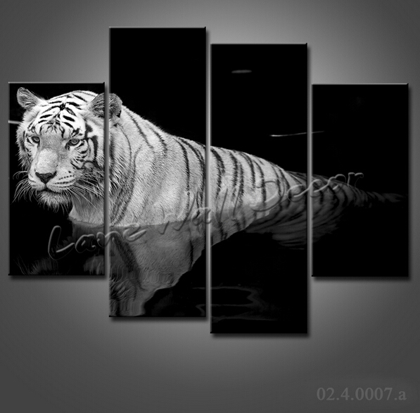 Canvas Only Oil Painting 4 Pieces Black And White Tiger Animal Home Decor Wall Art For